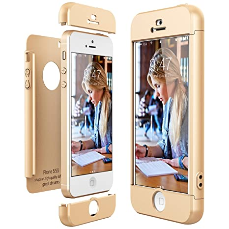 CE-Link Funda para Apple iPhone 5 5S Se Rigida 360 Grados Integral, Carcasa iPhone 5S Silicona Snap On Diseño Antigolpes Choque Absorción, iPhone Se ...