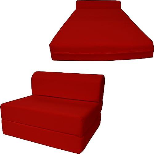 Chair Folding Foam Bed, Studio Sofa Guest Folded Foam Mattress 6 x 48 x 72 , Red