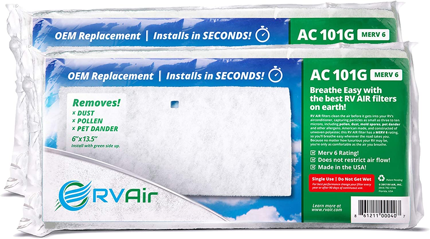RV Air RV AC Filter   2 Filters AC 101G Air Filters for RV Air Conditioner   Made in USA RV Filter to Replace Standard RV Air Conditioner Filters for Better Airflow and Cleaner Air   MERV 6 Rated