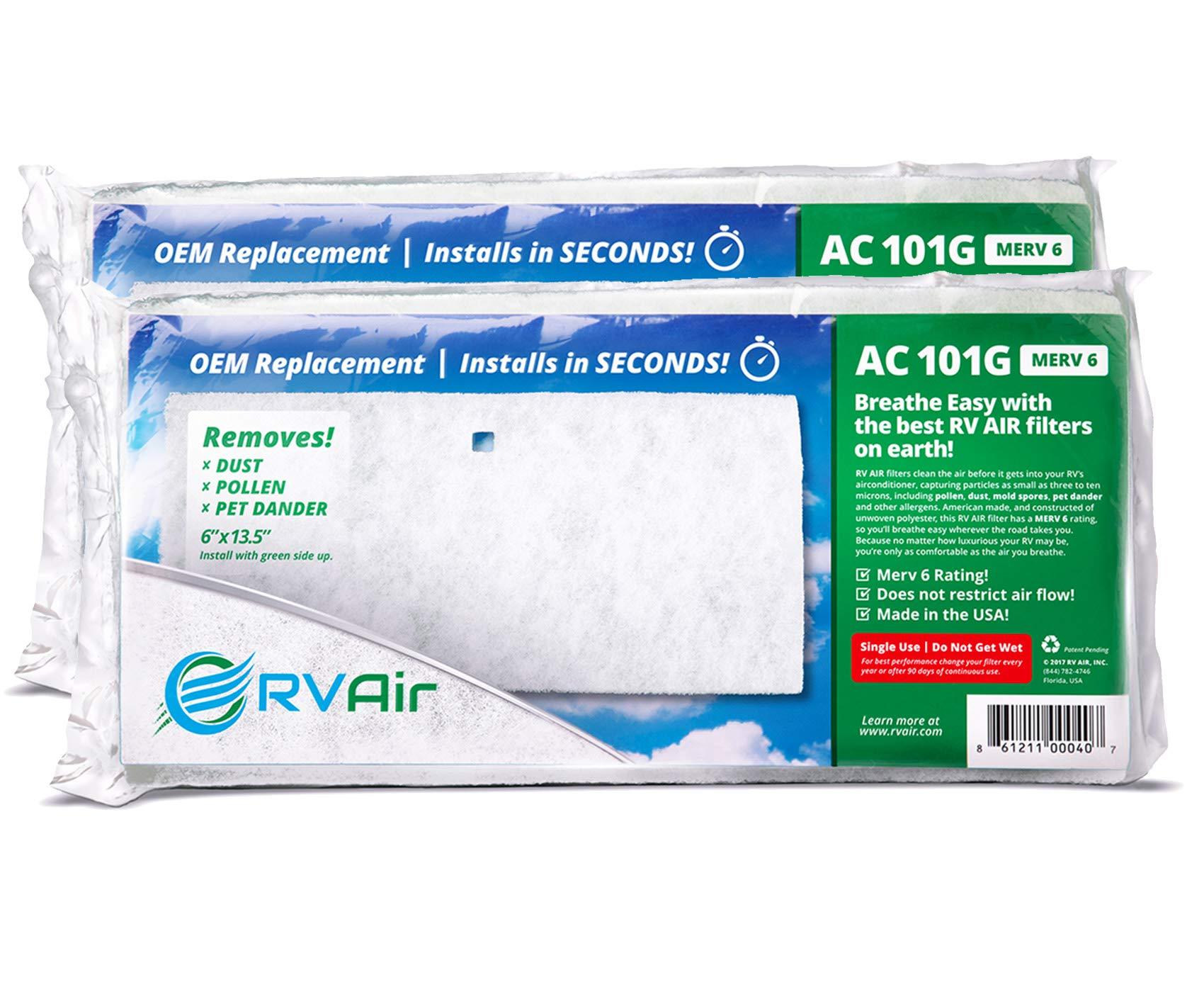 RV Air RV AC Filter   AC 101G Air Filters for RV Air Conditioner   Made in USA RV Filter to Replace Standard RV Air Conditioner Filters for Better Airflow and Cleaner Air   MERV 6 Rated - 2 Filters by RVAIR