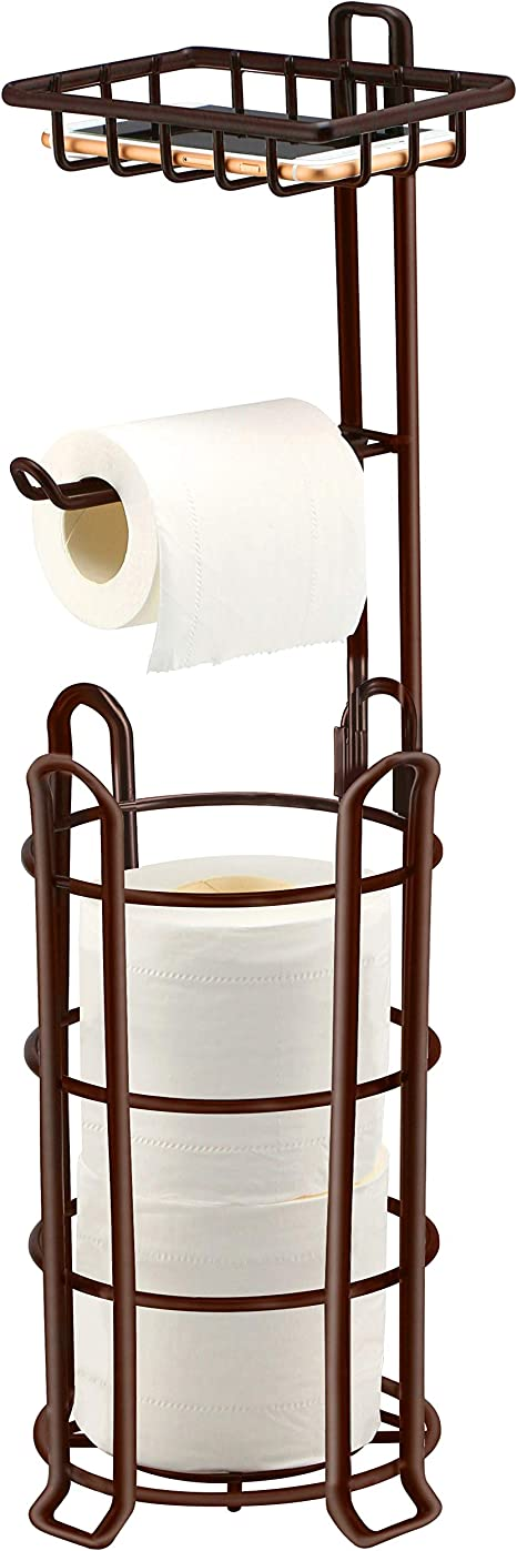 Free Standing Toilet Paper Holder with Shelf Bathroom Toilets Tissue roll Stand