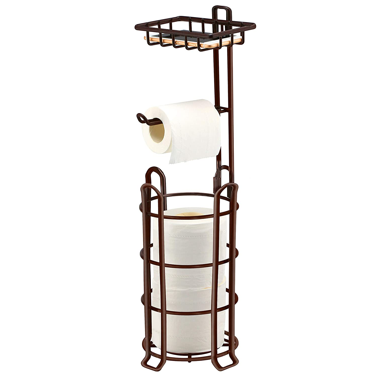 27e833f8b277f6 TomCare Toilet Paper Holder Toilet Paper Stand 4 Raised Feet Bathroom  Accessories Portable Tissue Paper Dispenser Reserve Free Standing Toilet  Paper Roll ...