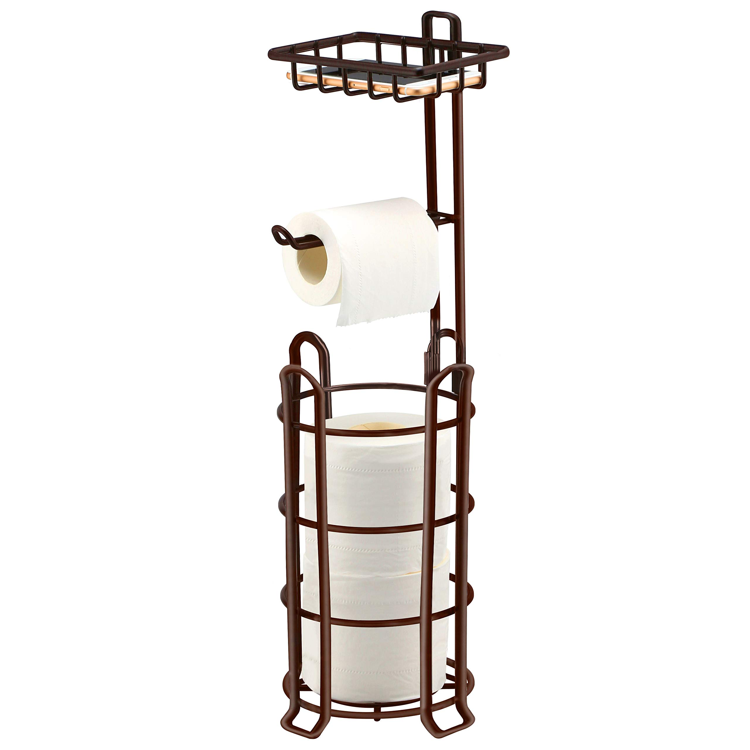 TomCare Toilet Paper Holder Toilet Paper Stand 4 Raised Feet Bathroom Accessories Portable Tissue Paper Dispenser Reserve Free Standing Toilet Paper Roll Storage Shelf Bathroom Bronze by TomCare