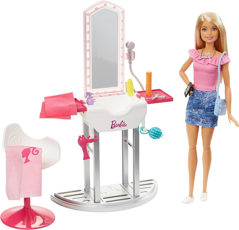 Amazon.es: Barbie Quiero Ser peluquera, muñeca rubia con accesorios y su salón de belleza (Mattel FJB36): Juguetes y juegos