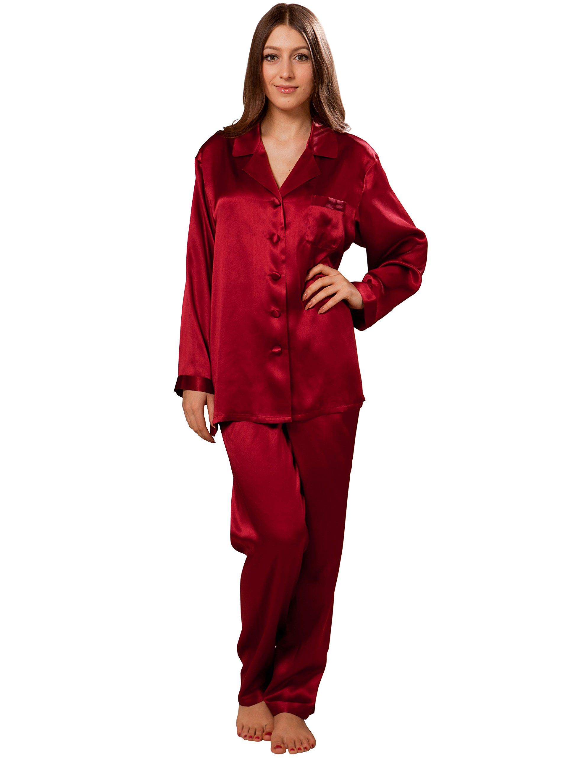 ElleSilk Silk Pajamas For Women, Long Sleeve Silk Sleepwear, Premium Quality Mulberry Silk, Wine, L