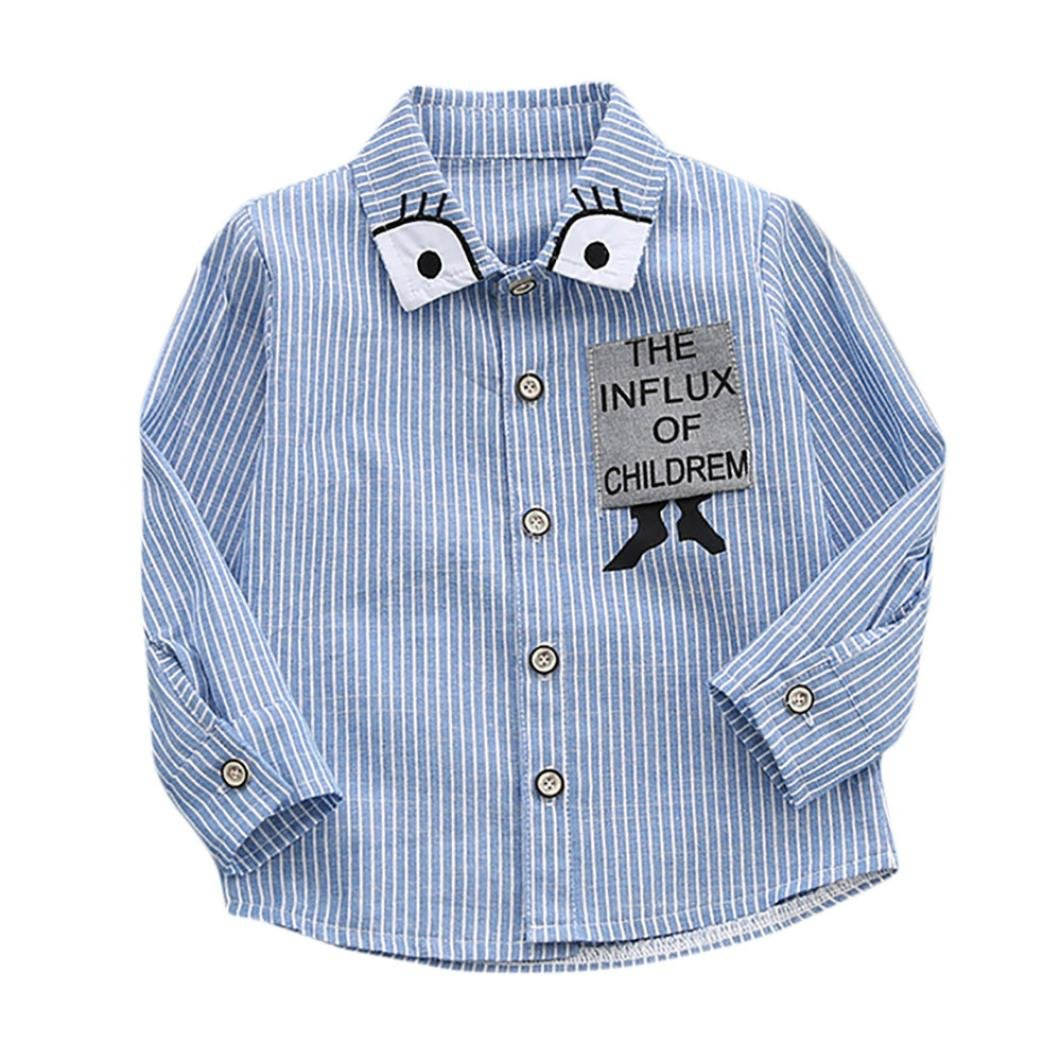 95451161b0 Kolylong Childrens Kids Boys Shirts Long Sleeve Blouse Cartoon Eyes Stripe T -Shirt Tops Clothes Spring Autumn School Casual Daily Outfits (18M, ...