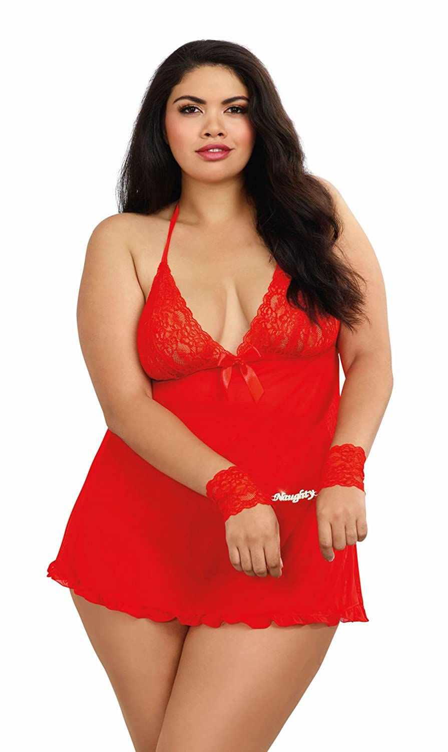 Dreamgirl Women's Plus-Size Naughty Secrets Babydoll with Wrist Restraints Red Queen One Size Dreamgirl International 9120x