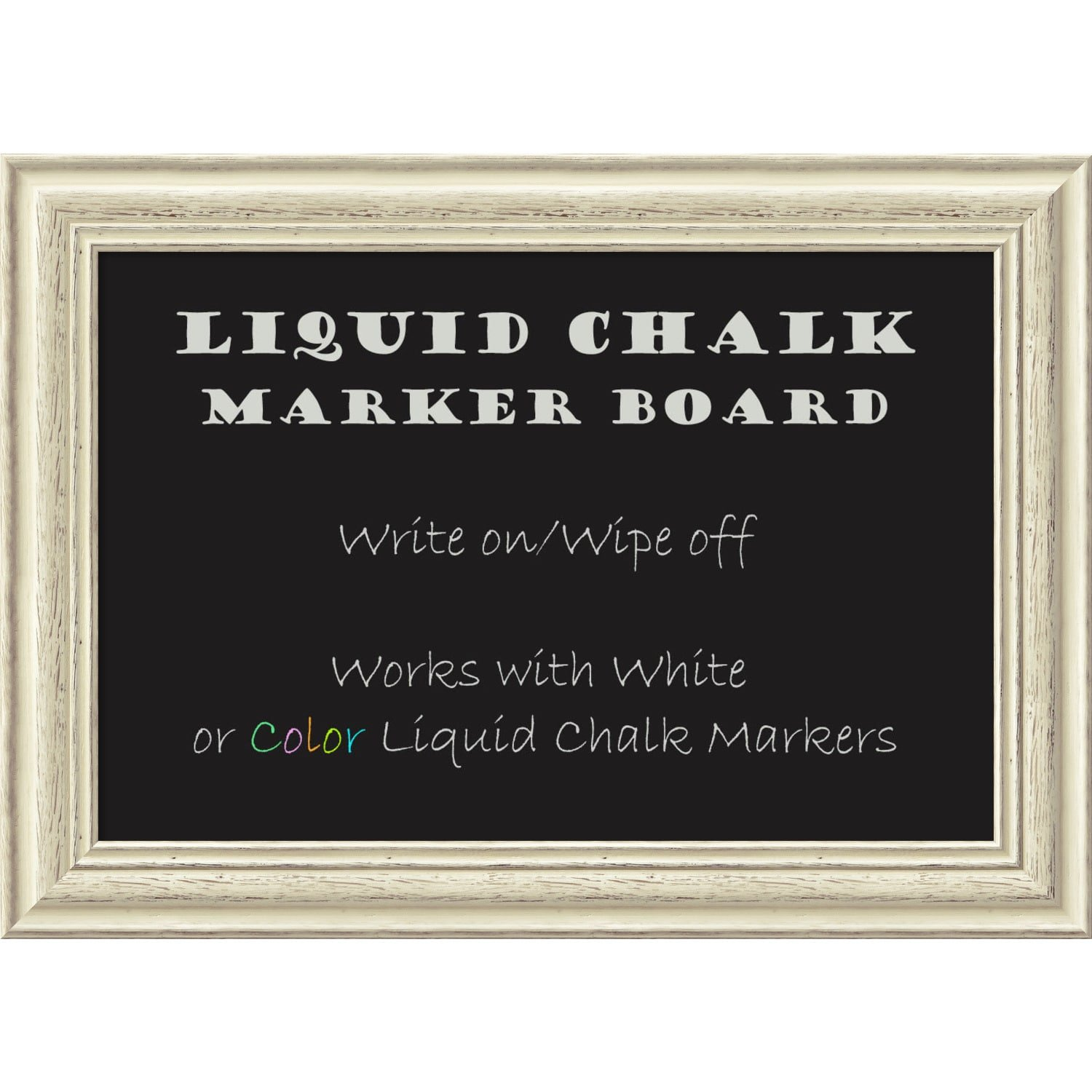 Amanti Art Framed Liquid Chalk Marker Board, Country White Wash Small - 23 x 17 -inch
