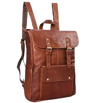 aa16a6c581 STILORD Manila Vintage Sac à dos cuir marron XL sac tyrolien à main pour  hommes femmes sac pour ordinateur portable ...