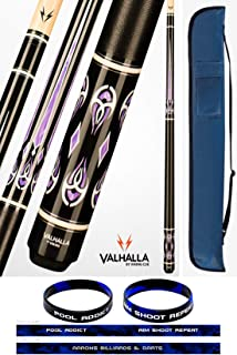 product image for Valhalla VA725 by Viking 2 Piece Pool Cue Stick Linen Wrap, Purple HD Graphic Transfers, Nickel Silver Rings, High Impact Ferrule, 18-21 oz. Plus Cue Case & Bracelet
