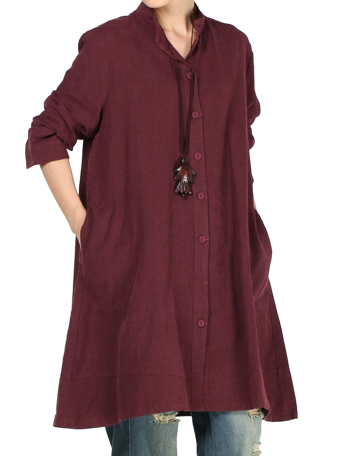 Mordenmiss Women's Cotton Linen Full Front Buttons Jacket Outfit with Pockets Style 1 M Burgundy