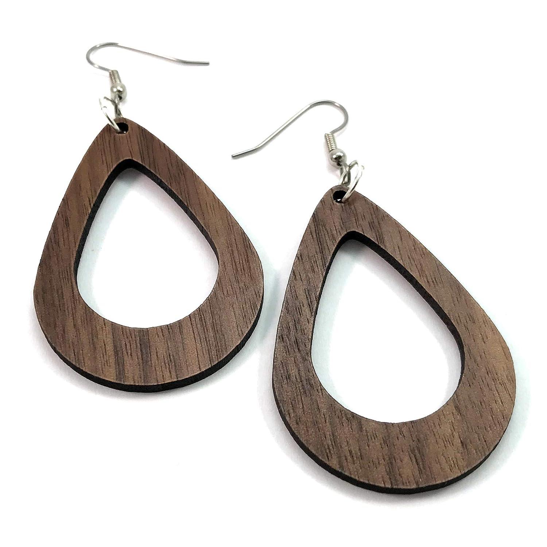 Medium Wood Hoop Dangle Earrings