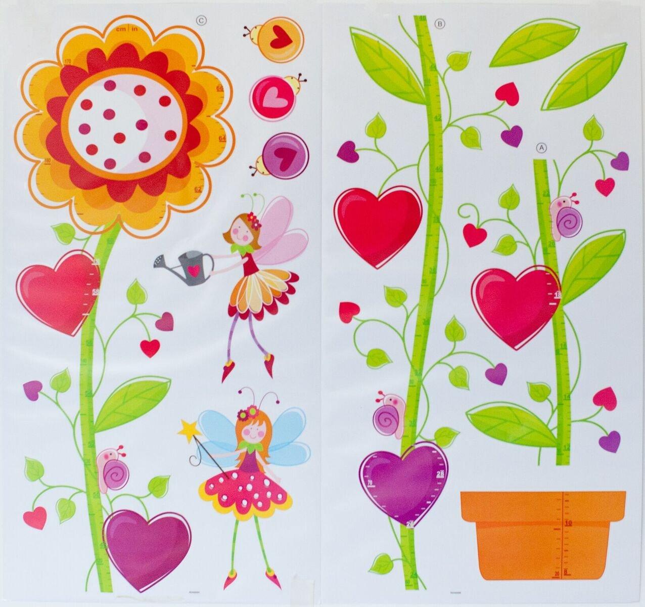 キッズ成長チャートリムーバブルwith Flower Fairies Ladybugs Snails 3d画像フレーム飾り子供の部屋保育園Playroom学校(高さ計測66インチまで)   B073SND3R6