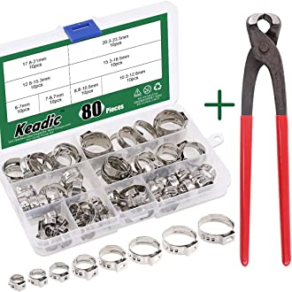 HanTof 130Pcs 304 Stainless Steel 7-21mm Single Ear Stepless Hose Clamps Assortment Kit,Pipe Clip,Ring Clamp Kit
