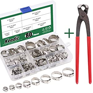 """Keadic 80Pcs 1/4""""-15/16"""" 304 Stainless Steel Single Ear Hose Clamps Pex Pinch Clamp Assortment Kit withEar Clamp Pincer for Securing Pipe Hoses and Automotive Use"""