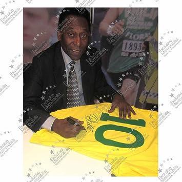 exclusivememorabilia.com Camiseta de fútbol número Diez de Brasil firmada por Pelé: Amazon.es: Deportes y aire libre