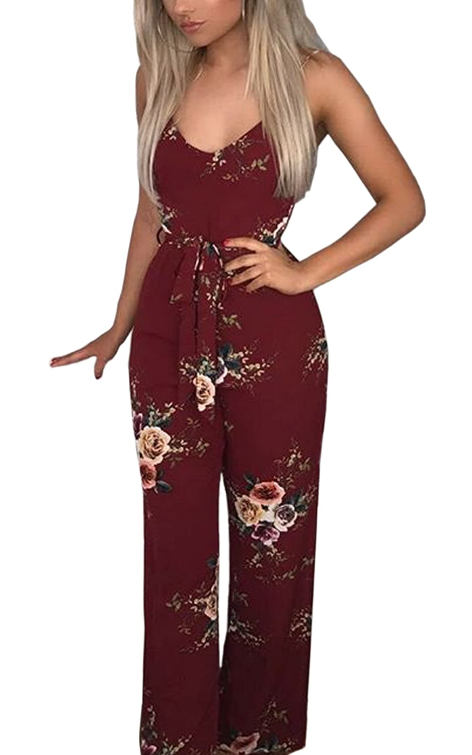 ECOWISH Womens Sexy V Neck Spaghetti Strap Floral Print Jumpsuit High Split Long Pants Rompers