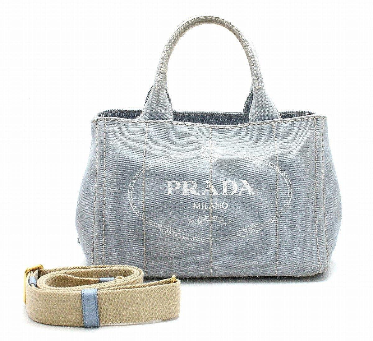[プラダ] PRADA CANAPA カナパ ミニカナパ スモールトートバッグ ハンドバッグ 2WAY ショルダーバッグ デニム 水色 ライトブルー 1BG439 B07FRLFX8P
