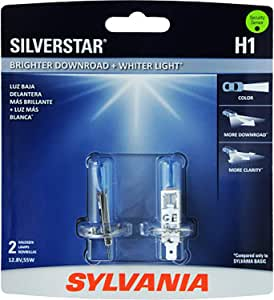 SYLVANIA - H1 SilverStar - High Performance Halogen Headlight Bulb, High Beam, Low Beam and Fog Replacement Bulb, Brighter Downroad with Whiter Light (Contains 2 Bulbs)