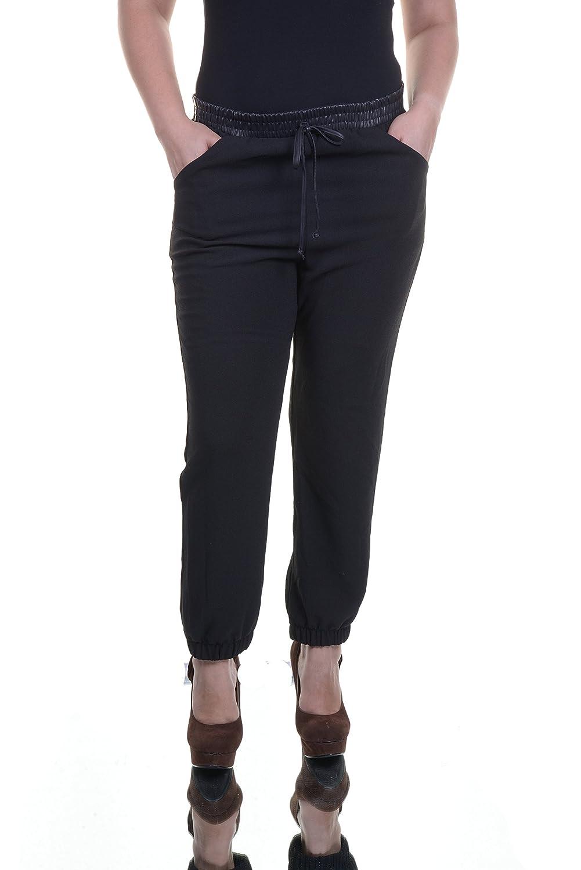 Bar III Womens Crepe Faux Leather Trim Jogger Pants Black L