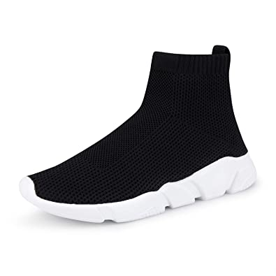 WXQ Men s Athletic Walking Shoes Lightweight Fashion Sneakers Breathable  Flyknit Running Shoes Black 39 6becb5ecab
