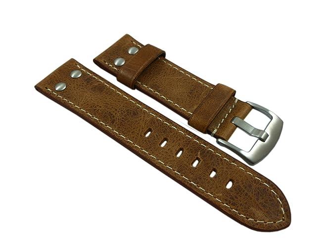 data di rilascio: 51538 3cada 18mm Pelle di vitello cinturino per orologio in vintage-look con rivetto in  marrone con fibbia in argento