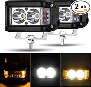 Pair 20W LED Pods Flood OFFROAD Work Lights Flush Mount fit Jeep Truck Boats