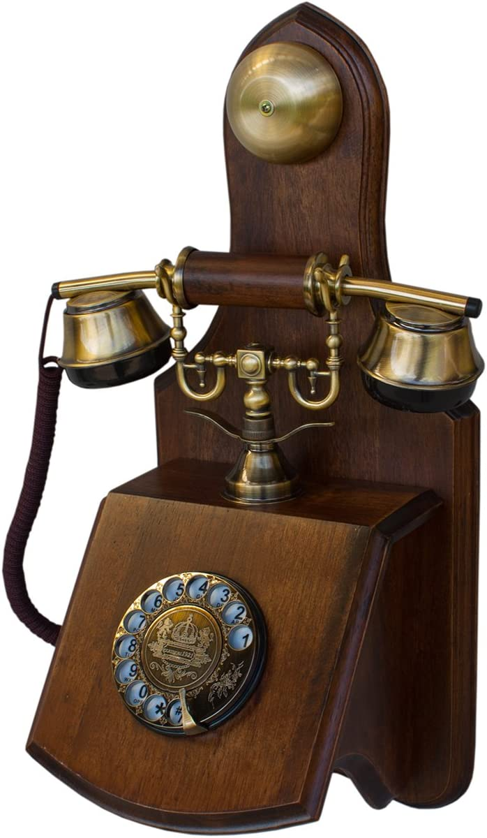OPIS 1921 Cable - Model D - Wall-Mounted Vintage Phone/Retro Telephone with Wood and Metal Body, Functional Rotary dial and Classic Metal Bell