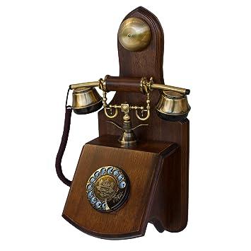 OPIS 1921 Cable - Modelo D - télefono Retro de Pared/telefono Fijo Vintage de Madera y Metal con Disco de marcar y Campana metálica