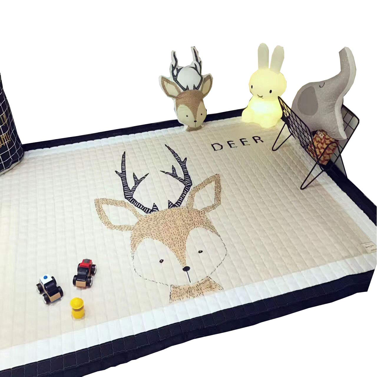 IHEARTYOU Baby Crawling Mat Cute Deer Play Carpet Children Bedroom Decor Living Room Rugs