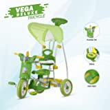 NHR Vega Kids Musical Cartoon Tricycle w/ Rear Storage Basket, Foot Rest, Back Support, Adjustable Canopy & Parent Control Push Handle for Girls, Boys, Toddler & Children, Green
