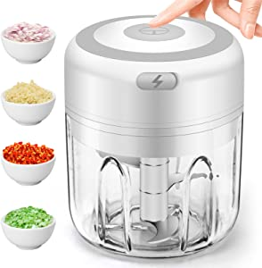 Mini Garlic Chopper, Electric Garlic Blender Portable Food Chopper Mini Food Processor for Dicing,Ginger,Chili, Fruits, Onions Pepper and Baby food Mini Chopper 250 ml Rechargeble Garlic Mincer