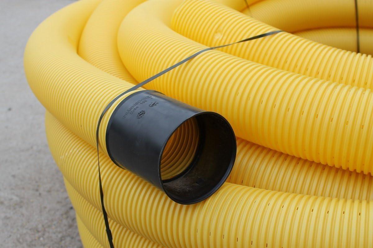 Tubo de drenaje amarillo Setaflex DN 50, 10 m, con perforaciones para desaguar, DN 50