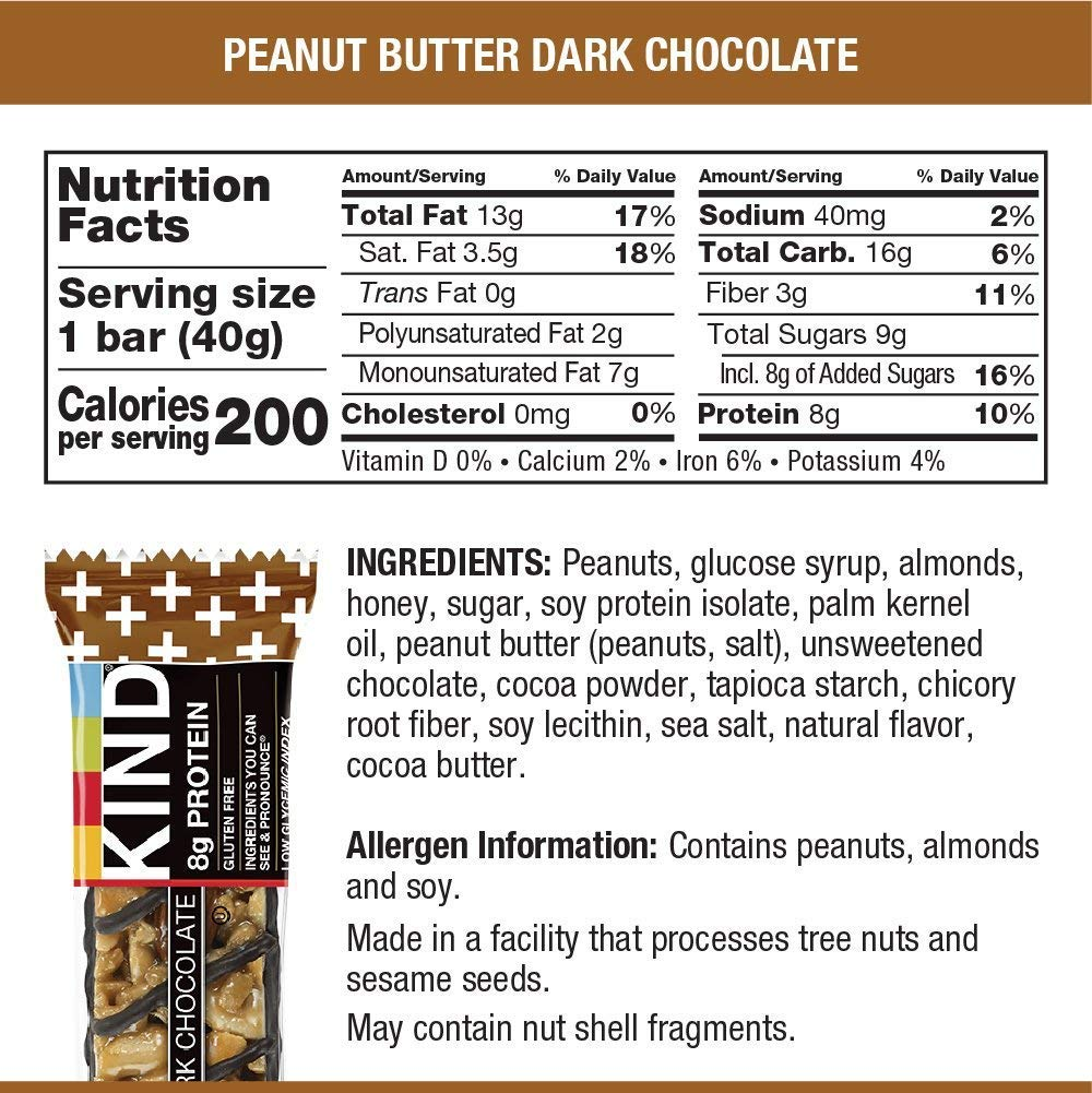 KIND Bars, Peanut Butter Dark Chocolate, 8g Protein, Gluten Free, 1.4 Ounce Bars, 24 Count by KIND (Image #6)