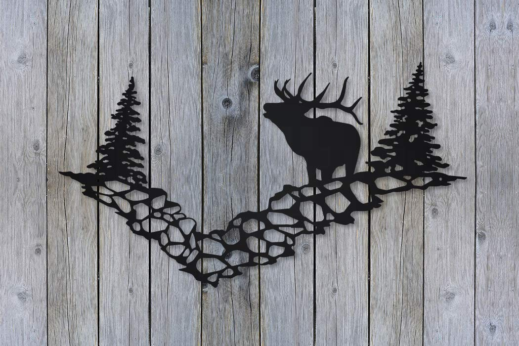Elk Pines Mountain Scene Metal Wall Art Sign for Home Cabin Decor Stainless Steel