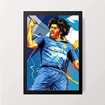 Party Pad Lasith Malinga Wall Decor A4 Size Art Print With Frame Amazon In Home Kitchen