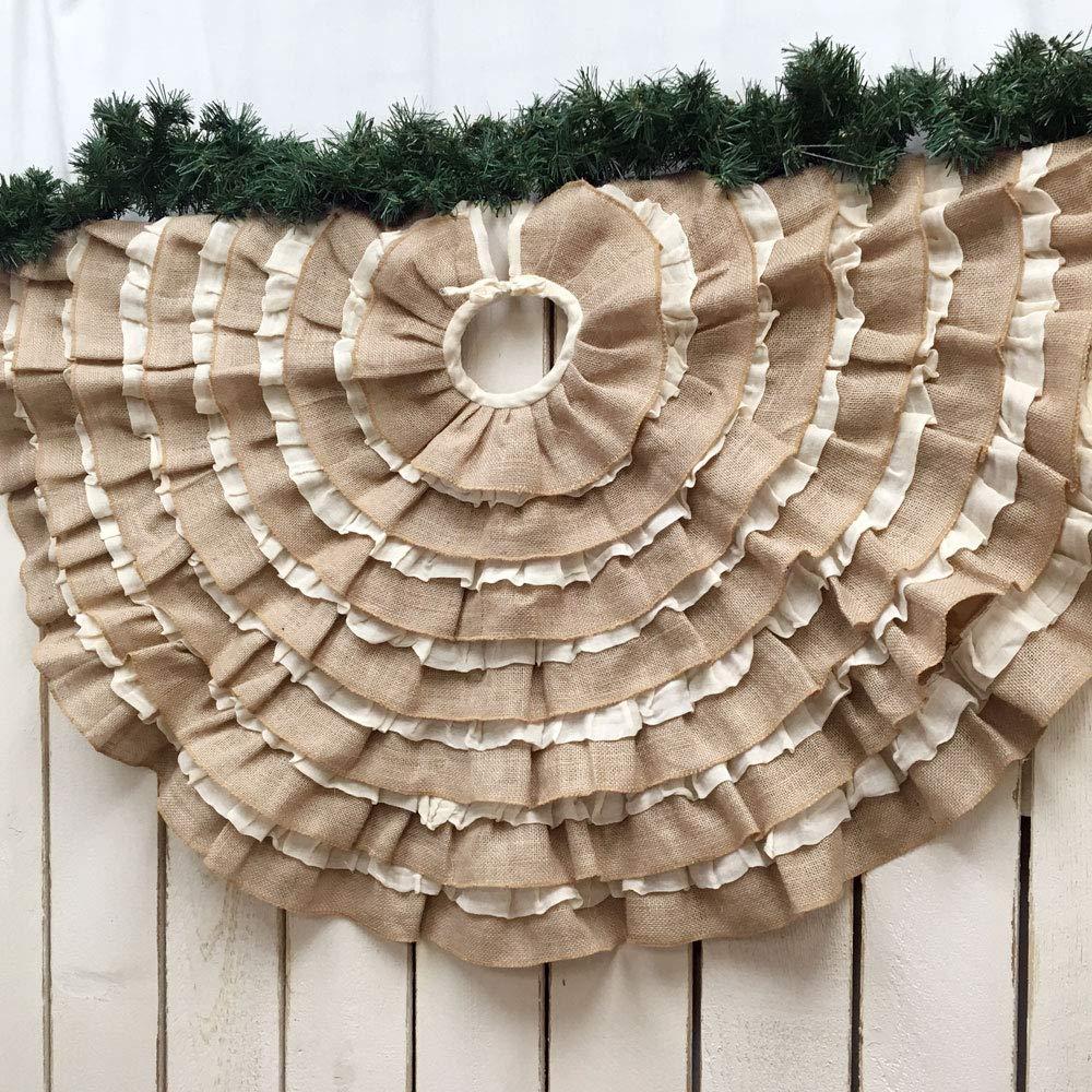 Jubilee Creative Studio 48 inch Round Ruffled Tobacco Cloth & Burlap Rustic Farmhouse Christmas Tree Skirt
