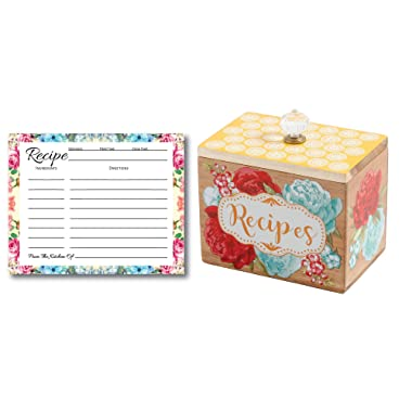 Pioneer Woman Recipe Box Gift Bundle, 50 Blank Recipe Cards, Recipe Cards Storage Box Organizer, Wooden Recipe Box, Unique Ideas, Kitchen Vintage Recipe Holder, Floral Recipe Cards