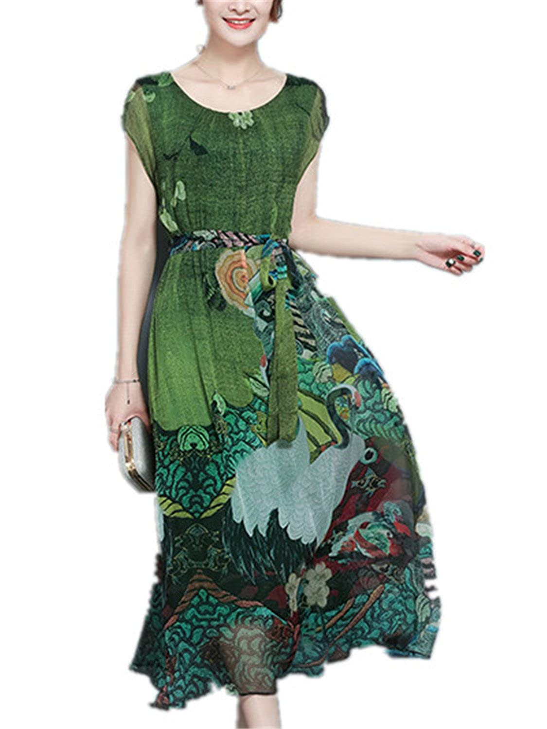c2b4d15d4b Gomis Spring Summer Green Vintage Floral Print Dresses Women O-Neck Short  Sleeve Silk Dress with Sashes Mid-Calf at Amazon Women s Clothing store