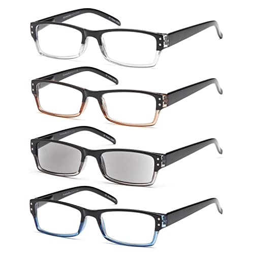 GAMMA RAY Readers 4 Pack Spring Hinges Rectangular Reading Glasses Includes Sun Readers for Men and ...