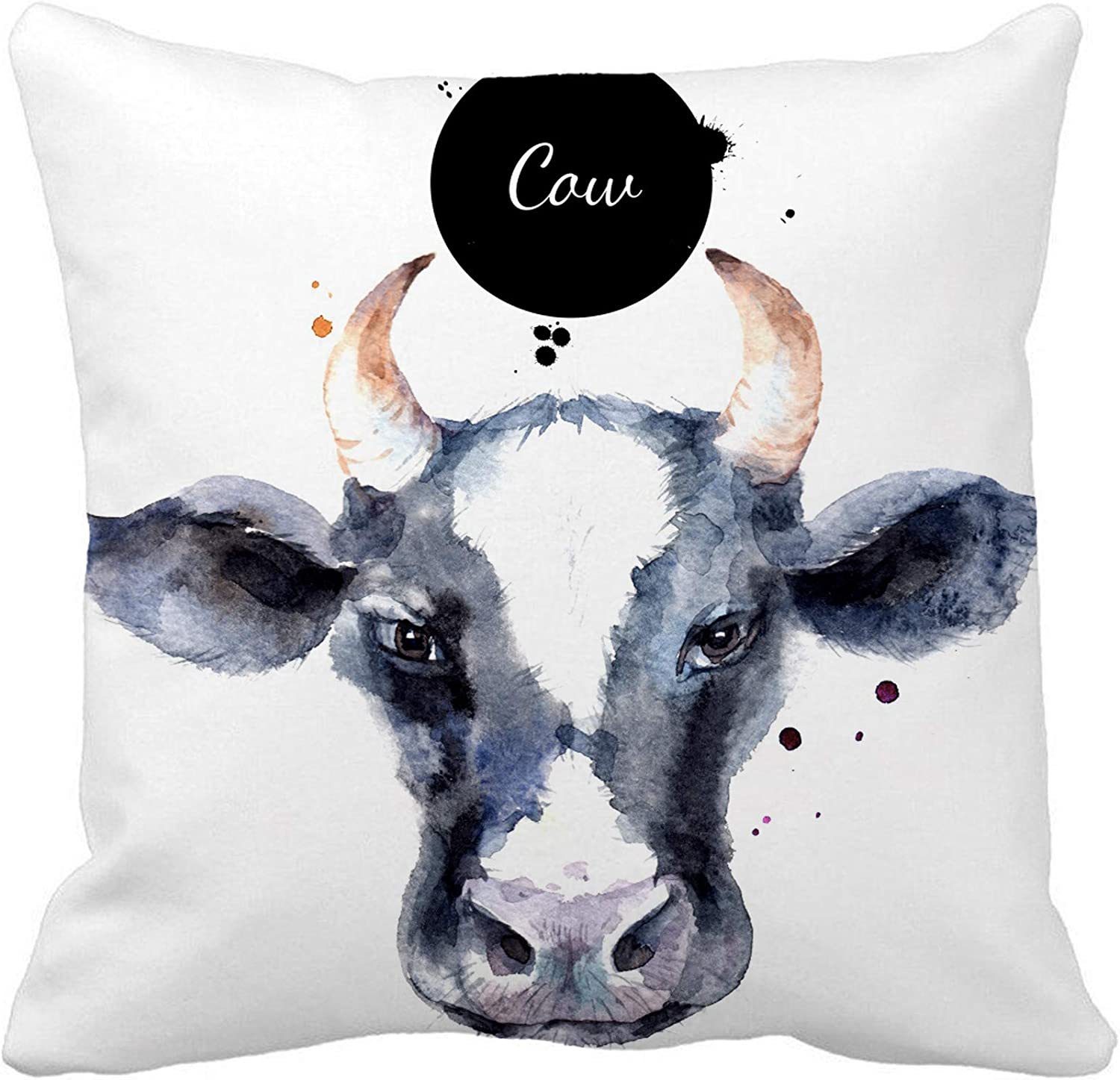 Awowee Throw Pillow Cover Colorful Farm Watercolor Cow Head Sketch Butcher Food Milk 18x18 Inches Pillowcase Home Decorative Square Pillow Case Cushion Cover