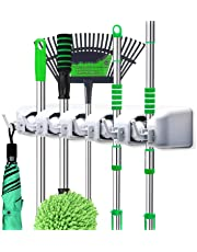 Mop and Broom Holder, Wall Mounted Garden Tool Organizer, Ideal Broom Hanger Tool Rack Storage for Kitchen, Garage, Laundry Room - 5 Position 6 Hooks