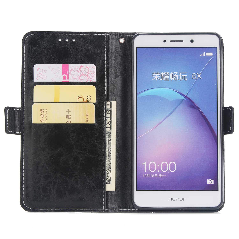 Pelle Premium Porta Carta Cover Flip Caso Custodia Portafoglio per Huawei Honor 6X Custodia in Pelle + Pellicola in Vetro Temperato Conber Cover Huawei Honor 6X Blu