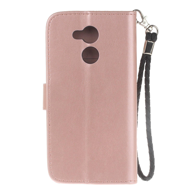Ukayfe Coque Glitter Diamant Strass Compatible avec Huawei Honor 6C Pro PU Cuir Portefeuille Hibou Housse Etui de Protection Magn/étique avec Fente pour Carte Anti Choc Cover Case-Or