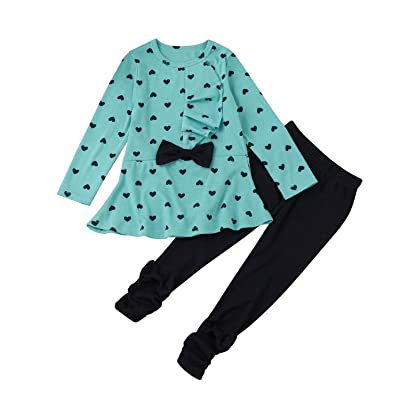 Owill Toddler Infant Baby Girls Heart Print Clothes Bow Top T-shirt + Solid Color Pants