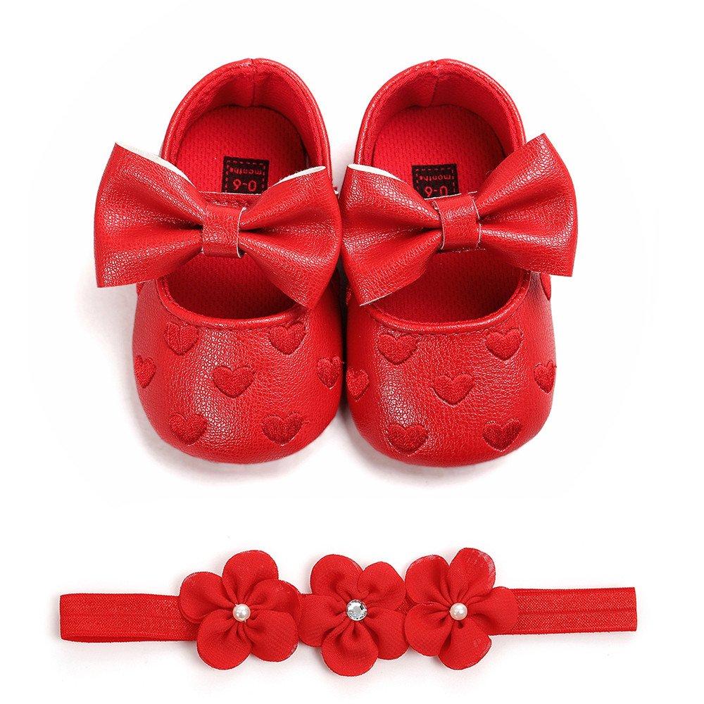 Patifia Baby M/ädchen Leder Schuhe Blume Einfarbig Kleinkindschuhe mit Haarband Anti-Rutsch-Weiche Taufe Prinzessin S/ü/ß Lauflernschuhe Sneaker f/ür Kleinkind