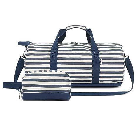 brillantezza del colore bene fuori x nuovi stili Oflamn Piccola Borsa da Viaggio in Tela per Donna e Uomo - Borsa da  Palestra Sportiva - Travel Duffel Bag & Sports Gym Bag (1.0 Set di Strisce  Blu)
