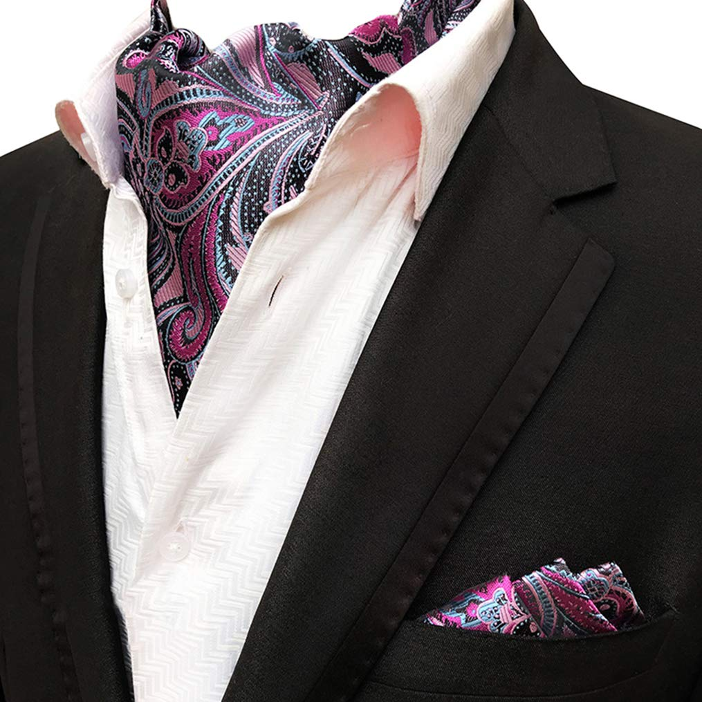 MOHSLEE Mens Purple Paisley Floral Cravat Neckties Silk Ascot Pocket Square Set