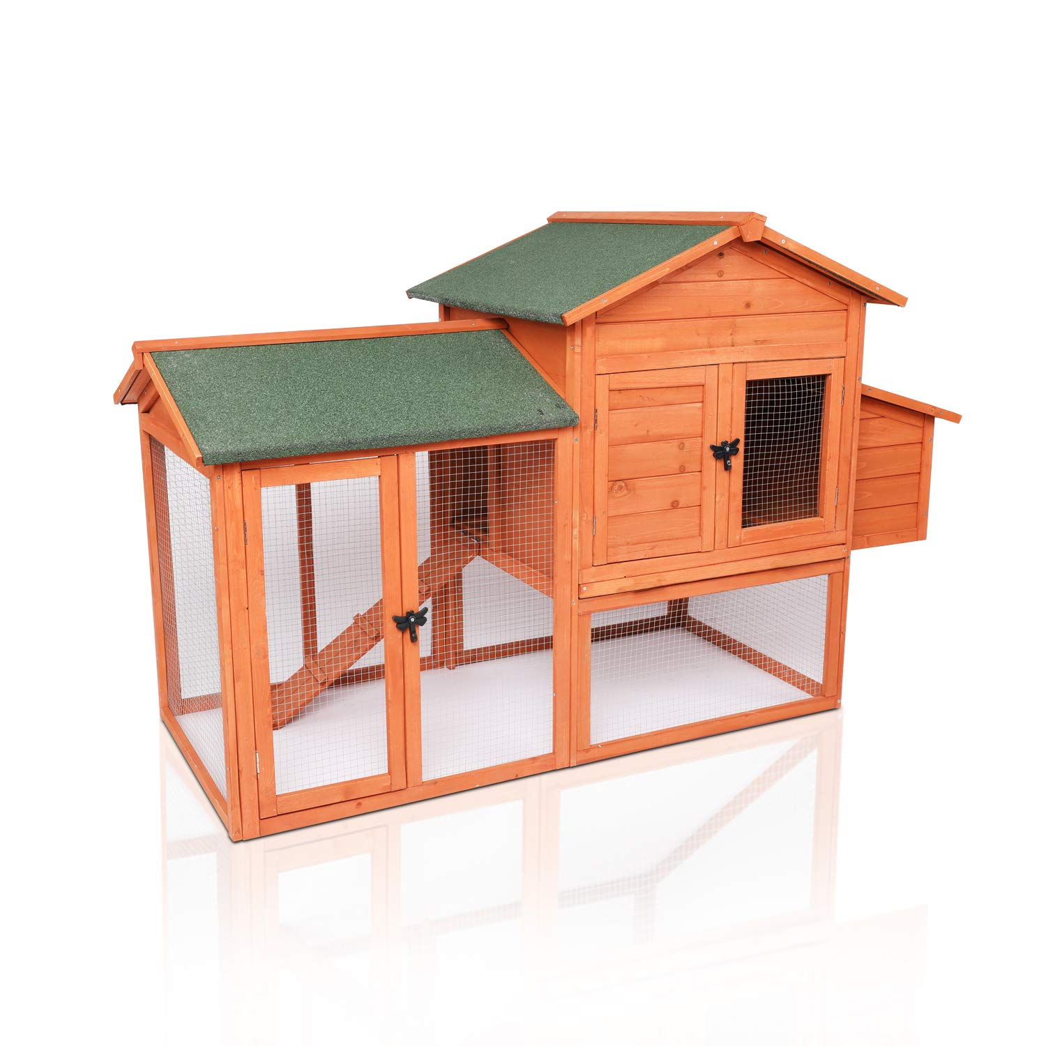 "LAZY BUDDY Chicken Coop, 41"" Wooden Chick Cage with Egg Box, Indoor and Outdoor Use Chicken Coop with Waterproof Roof for Chicken and Other Pets"