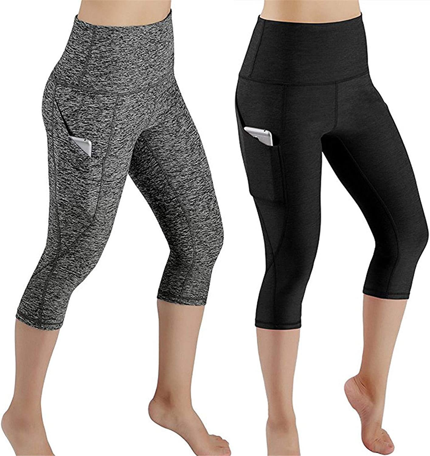 JSY Womens Sports High Rise Solid Butt-Lifting Leggings Yoga Pocket Pants